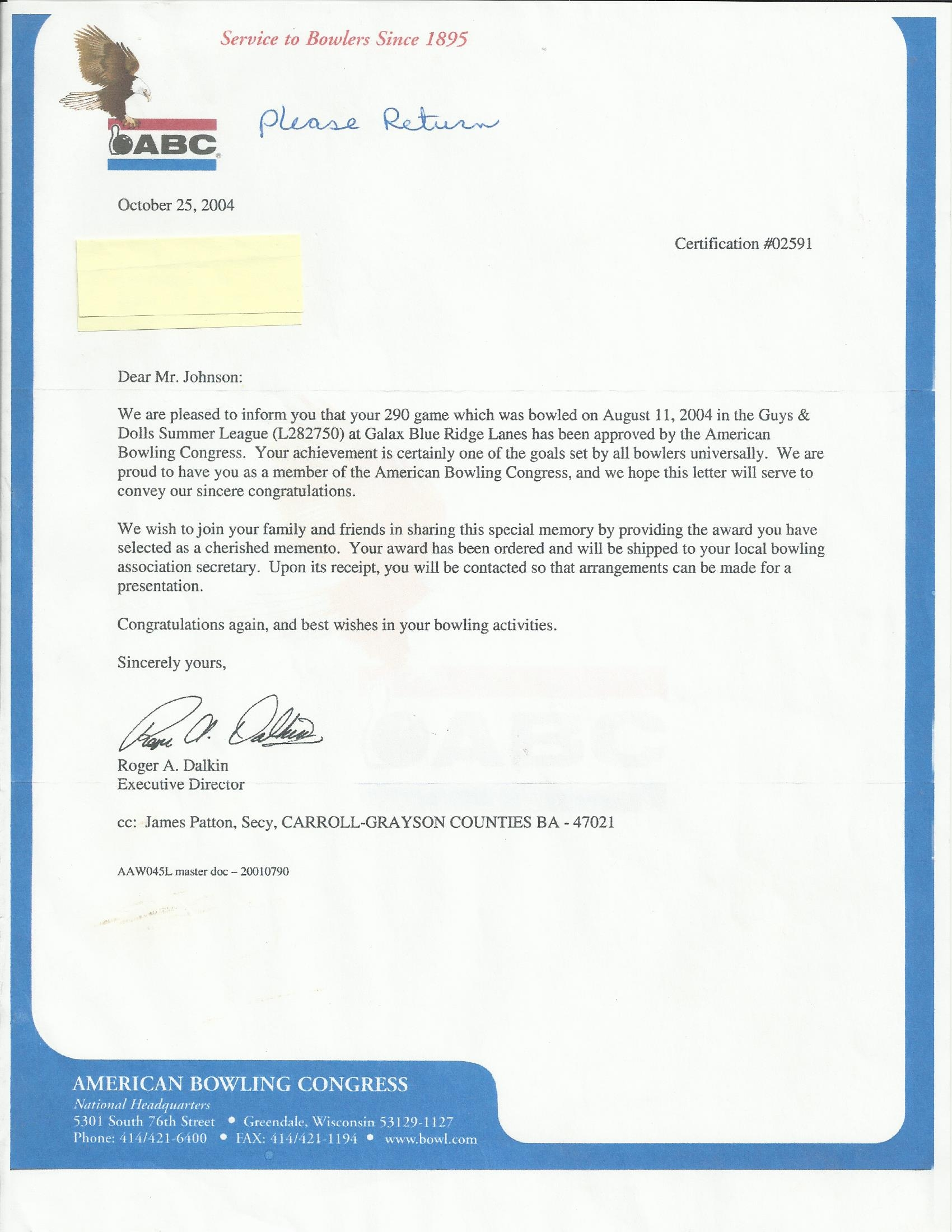 bowling ABC american bowling congress certification letter